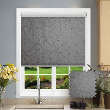 PVC Blackout Marble Silver Roller Blind